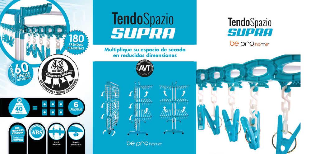 Soporta hasta 40 Kilos de Peso Reforzado Tendedero TendoSpazio Supra 44 Metros en 1 Multiplica tu Espacio
