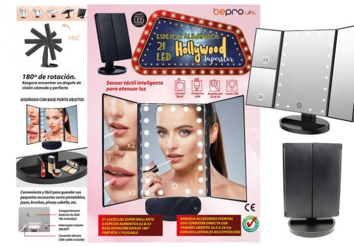 ESPEJO 21 LED BEPRO LIFE HOLLYWOOD