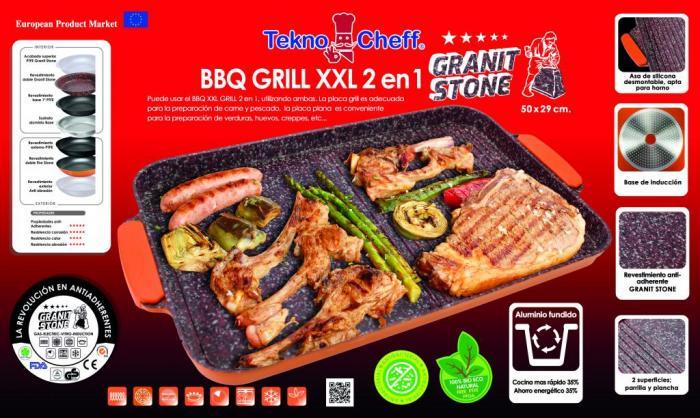 BBQ GRILL XXL 2 EN 1 TEKNO EXPRES GRANIT STONE