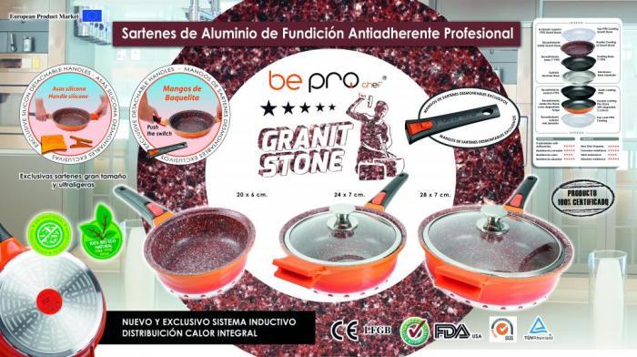Juego Sartenes Bepro Chef Granit Stone